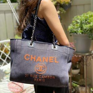 Authentic Chanel Denim Deauville  Small Tote Bag